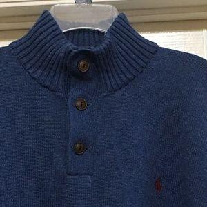 Ralph Lauren Polo 1/4 Zip Button Blue Sweater